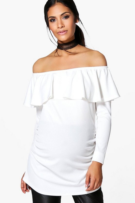 Maternity Sarah Off The Shoulder Ruffle Ribbed Top