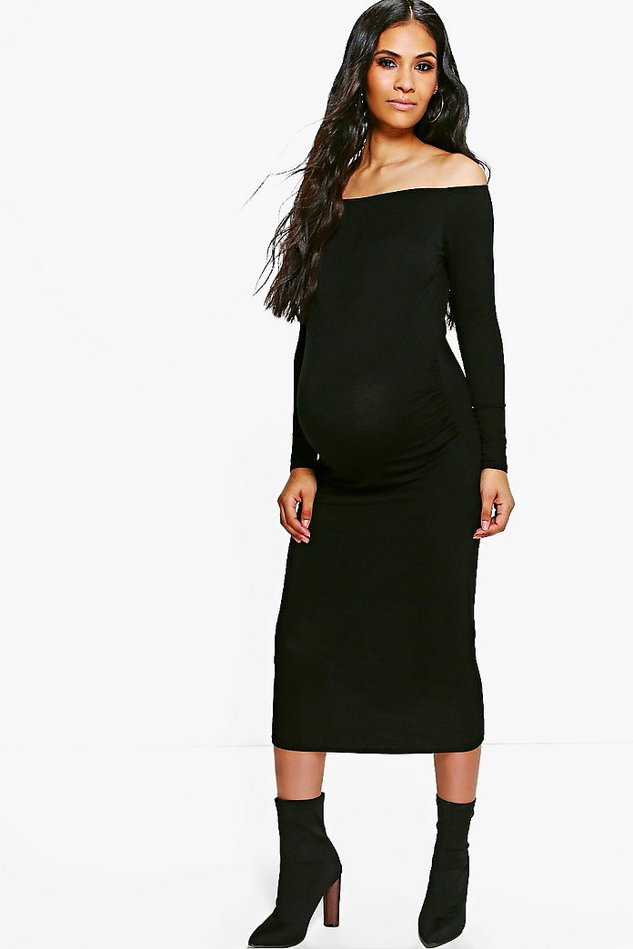 Maternity Olivia Off The Shoulder Midi Dress