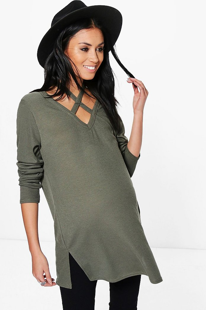 Maternity Aria Cross Neck Strap Ribbed Jumper
