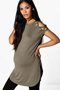 Maternity Arabella Strappy Detail Shoulder T-Shirt