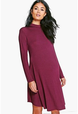 Maternity Harriet High Neck Long Sleeve Swing Dress