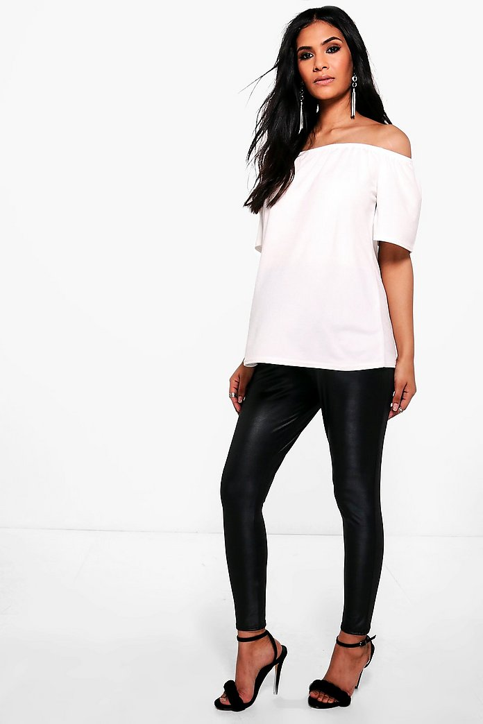 Maternity Freya Leather Look Over The Bump Leggings
