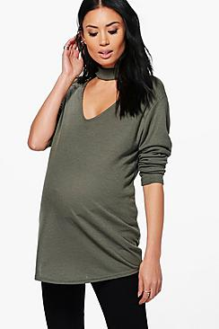 Maternity Claire Choker Ribbed Jumper