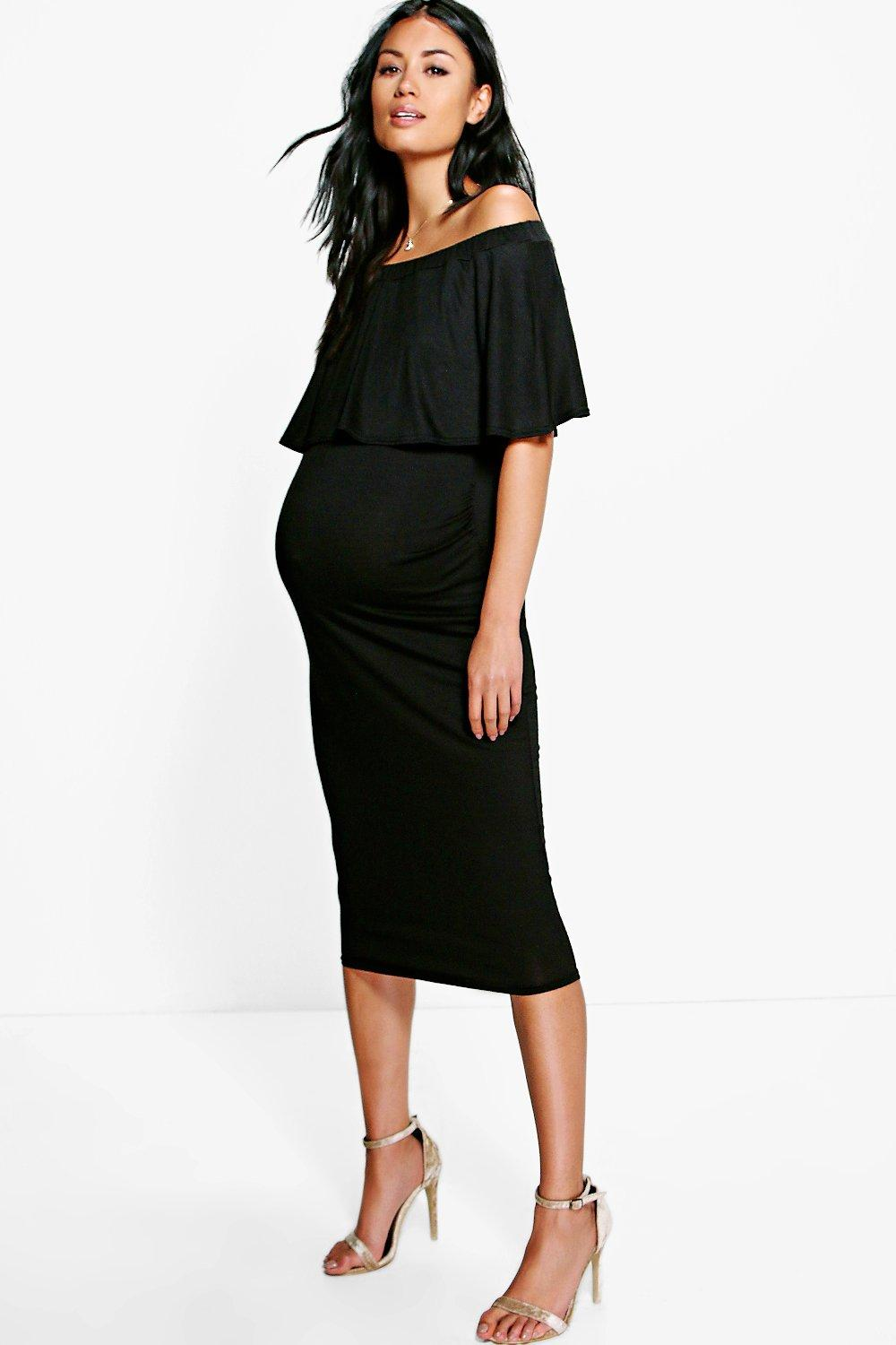 Maternity april off the shoulder midi dress boohoo maternity april off the shoulder midi dress hover to zoom ombrellifo Image collections