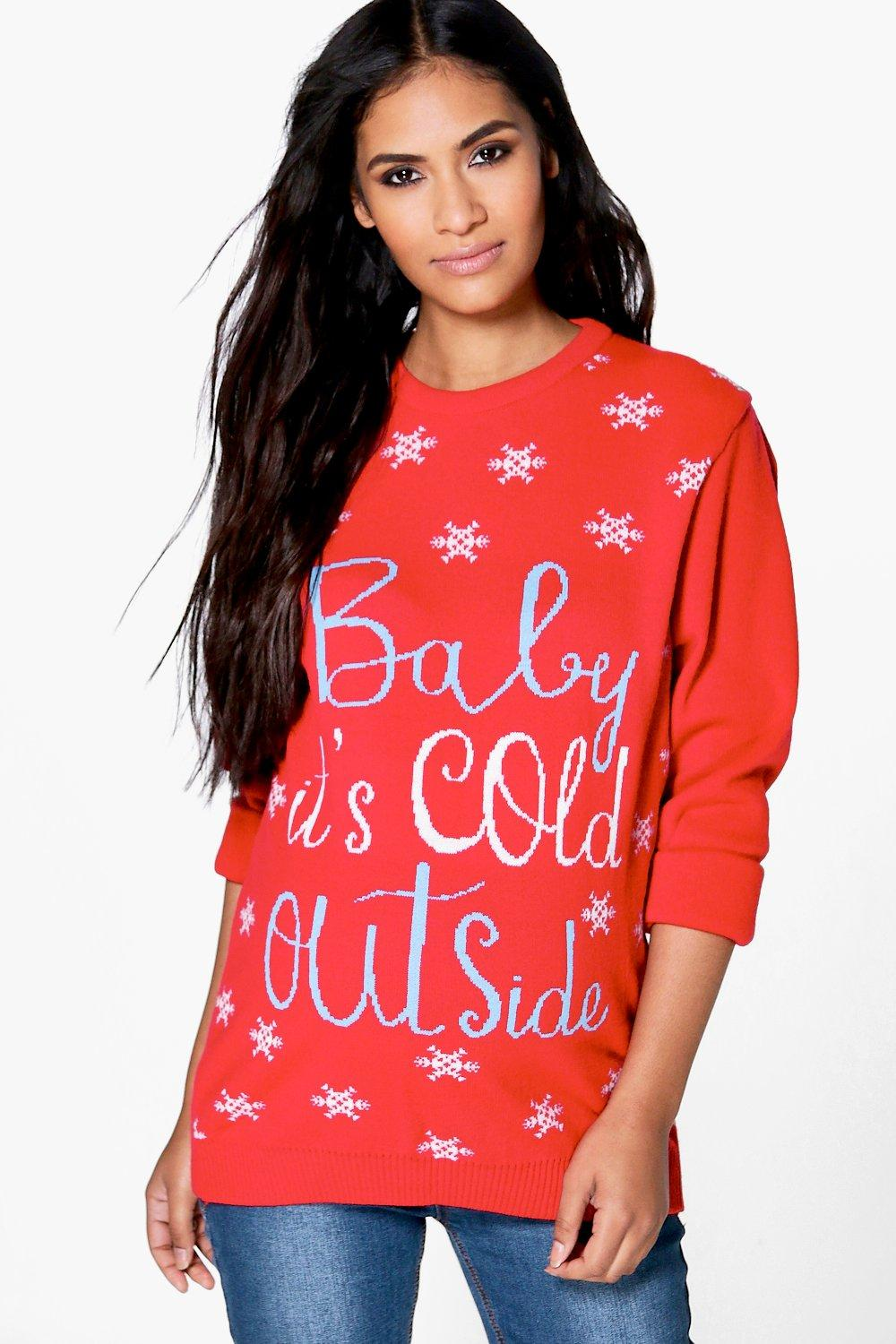 Bridgette Baby Its Cold Outside Christmas Jumper  red