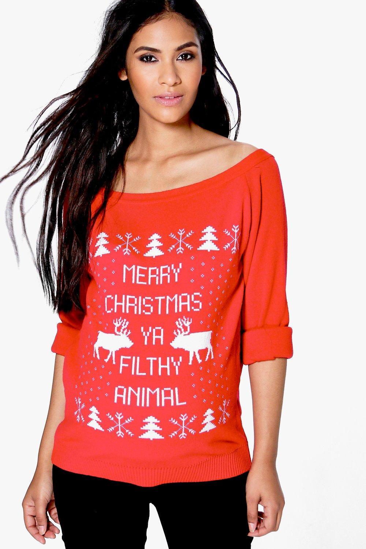 Sophie Slash Neck Filthy Animal Christmas Jumper  red