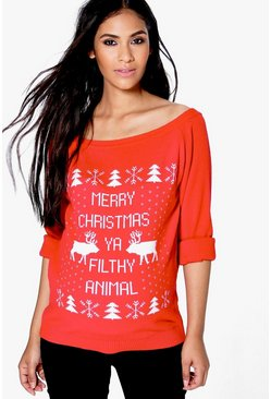 Maternity Sophie Slash Neck Filthy Animal Christmas Jumper