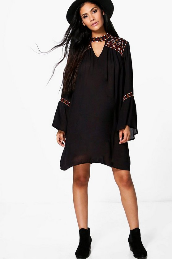 Maternity Sally Boutique Embroidered Wide Sleeve Swing Dress