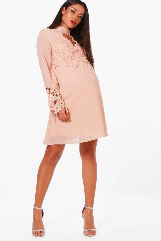 Maternity Cathy Crochet Lace Open Neck Shift Dress