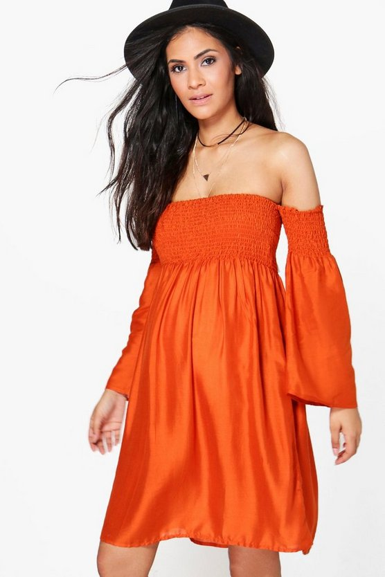 Maternity Freya Flute Sleeve Off The Shoulder Dress