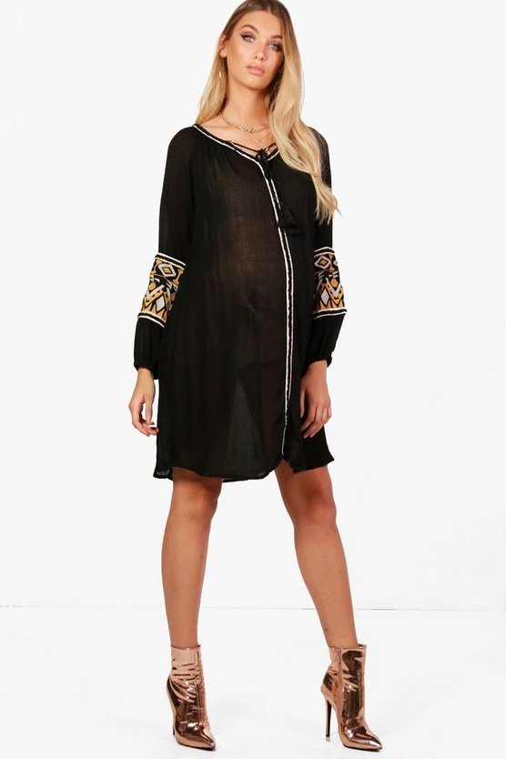 Maternity Rosaleen Boutique Embroidered Smock Dress