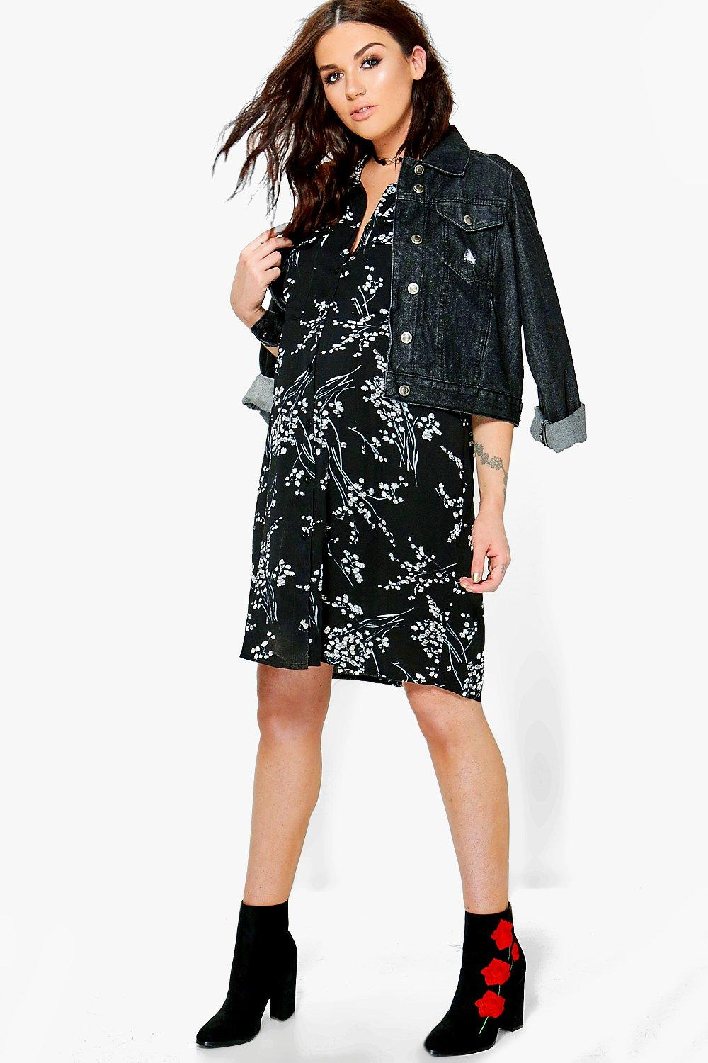 Maternity Lily Floral Printed Shirt Dress