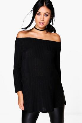 Maternity Hollie Off The Shoulder Ribbed Top