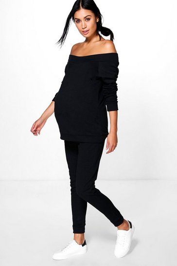 Black Maternity Bardot Top & Lounge Jogger Set