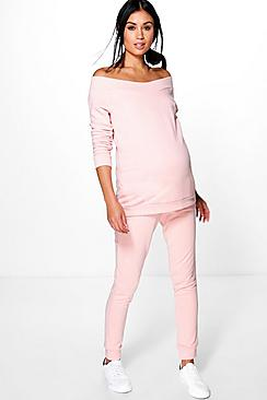 Maternity Zoe Bardot Top & Lounge Jogger Set