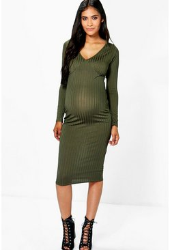 Maternity Harriet Ribbed Midi Dress
