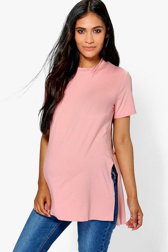 Maternity Molly Side Split Oversized Tee