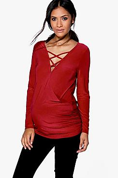 Maternity Lily Lace up Front Top
