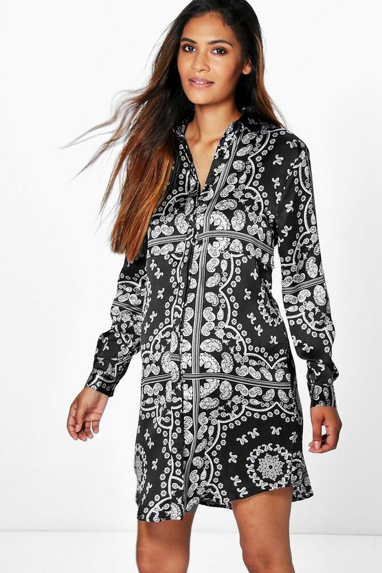 Maternity Printed Long Sleeve Shirt Dress