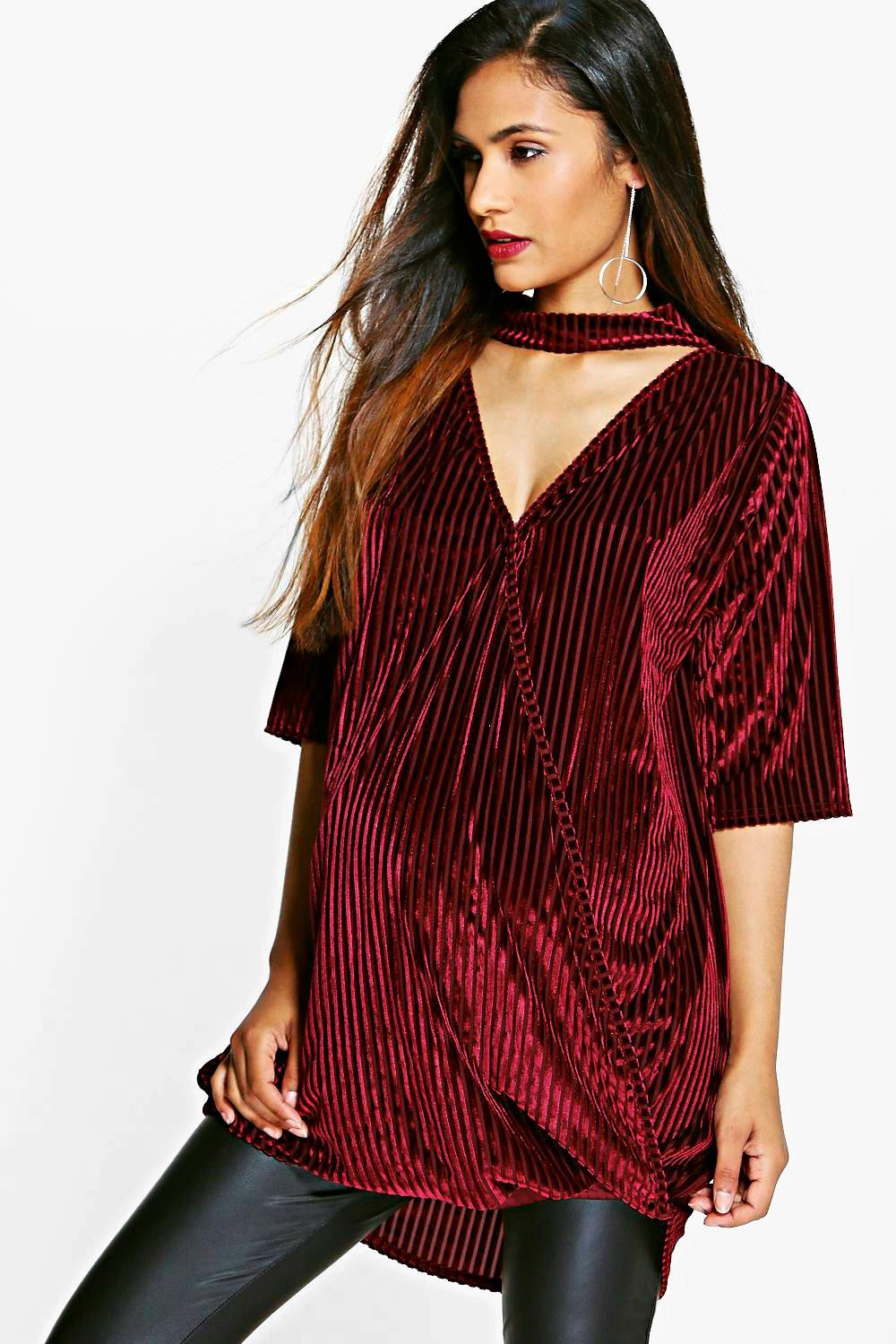 Maternity Sarah Burn Out Stripe Velvet Wrap Top