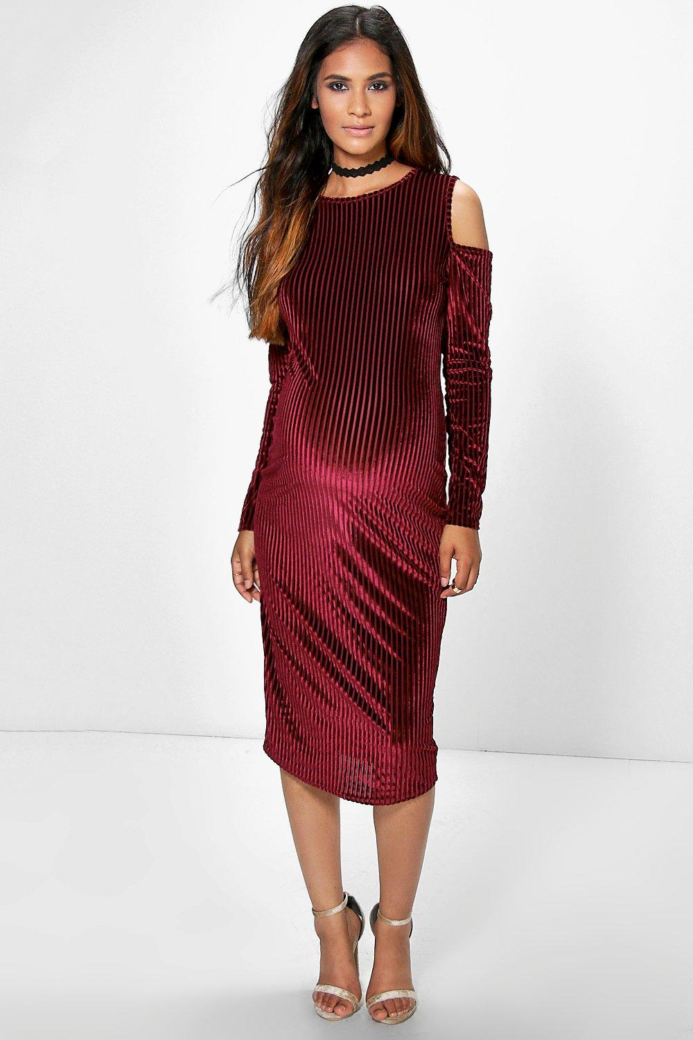 Maternity Cleo Burn Out Stripe Velvet Midi Dress