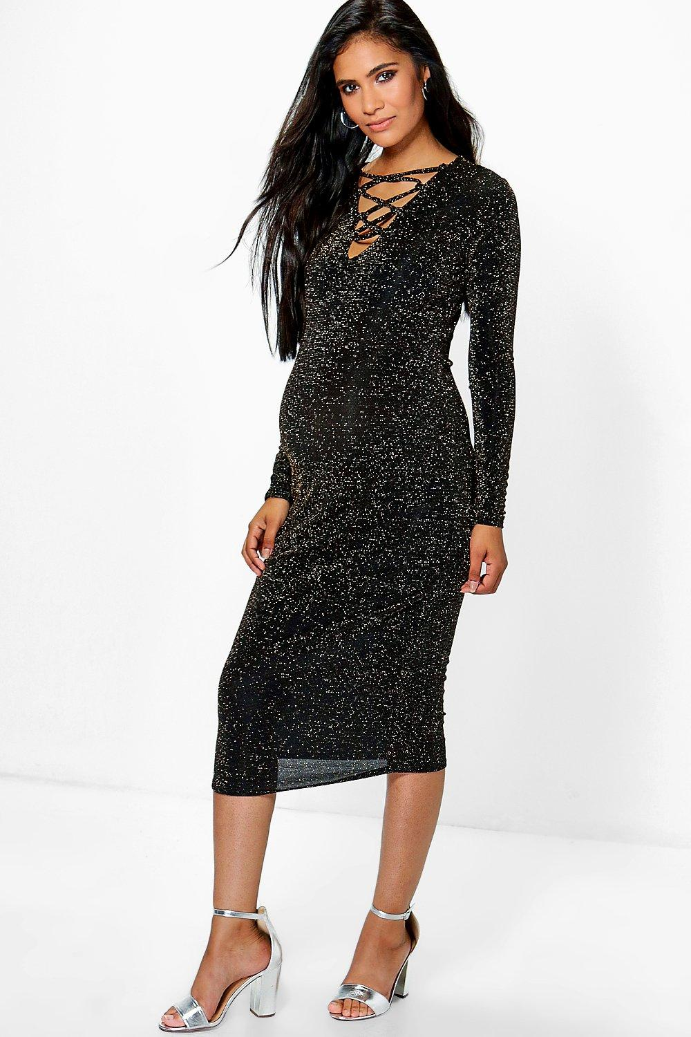 Maternity Verity Lace Up Front Lurex Midi Dress