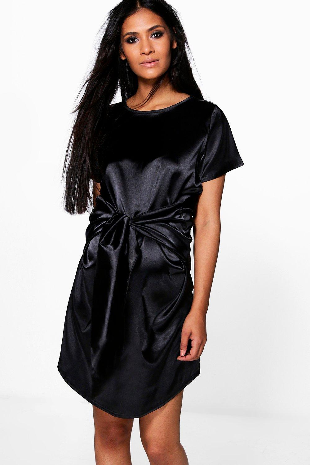 Maternity Susie Satin Wrap Front Shift Dress