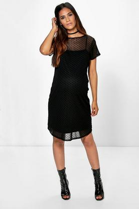Maternity Mia Mesh Spot Shift Dress