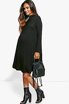 Maternity Poppy High Neck Long Sleeve Swing Dress