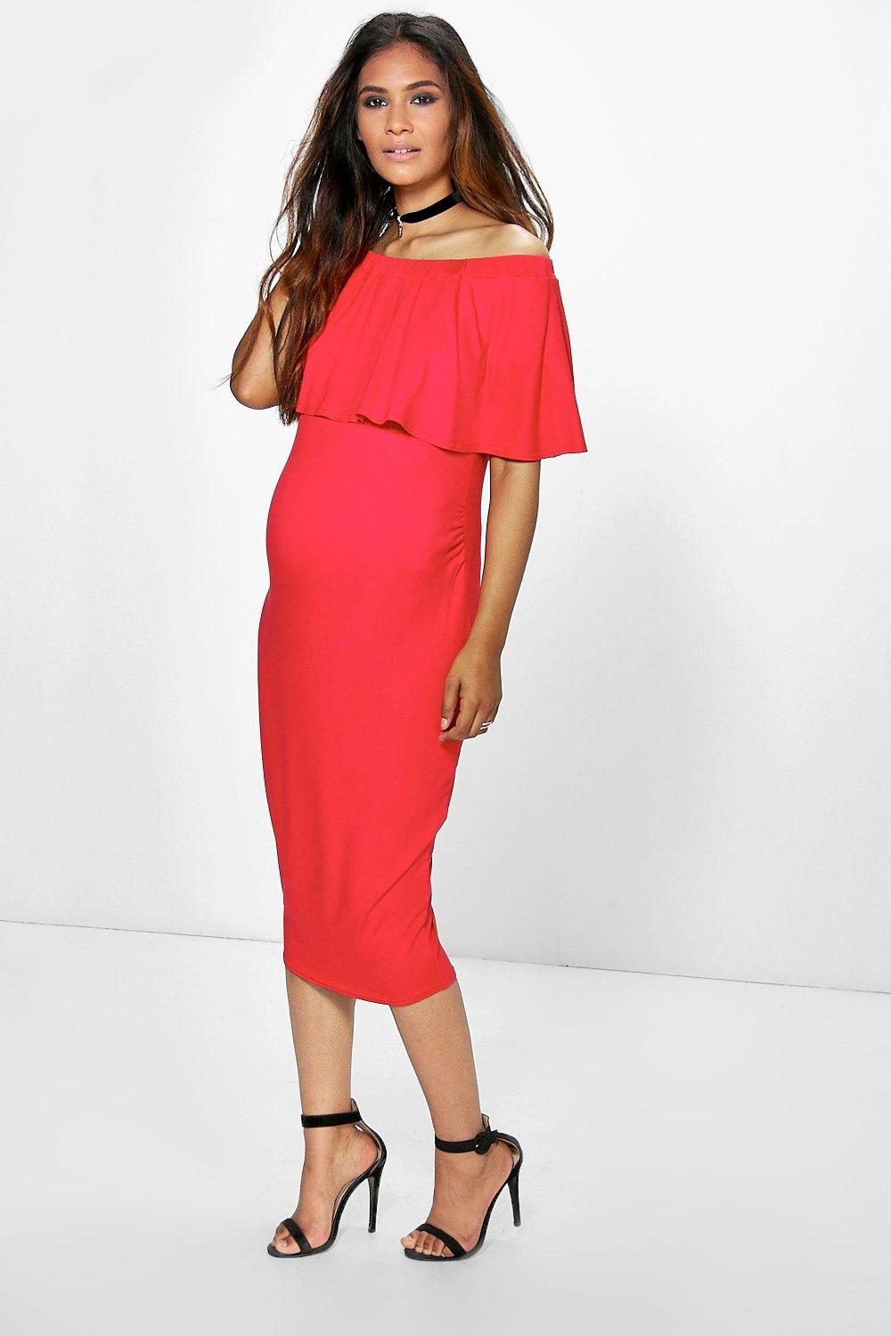 Maternity Eva Off The Shoulder Midi Dress