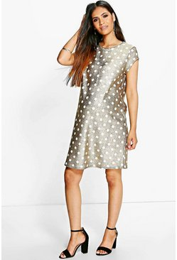 Maternity Katherine Metallic Printed Shift Dress