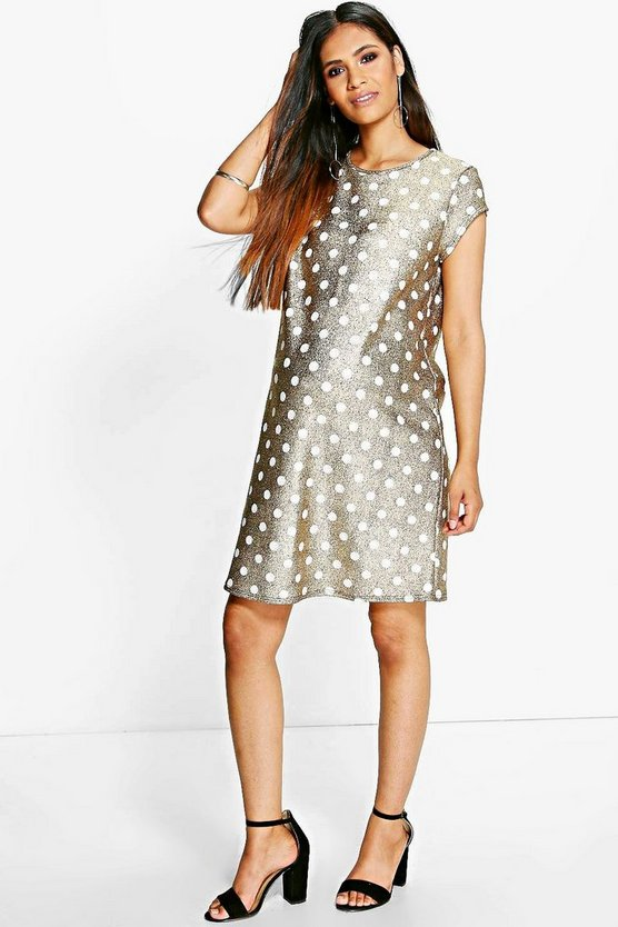 Maternity El Metallic Printed Cap Sleeve Shift Dress