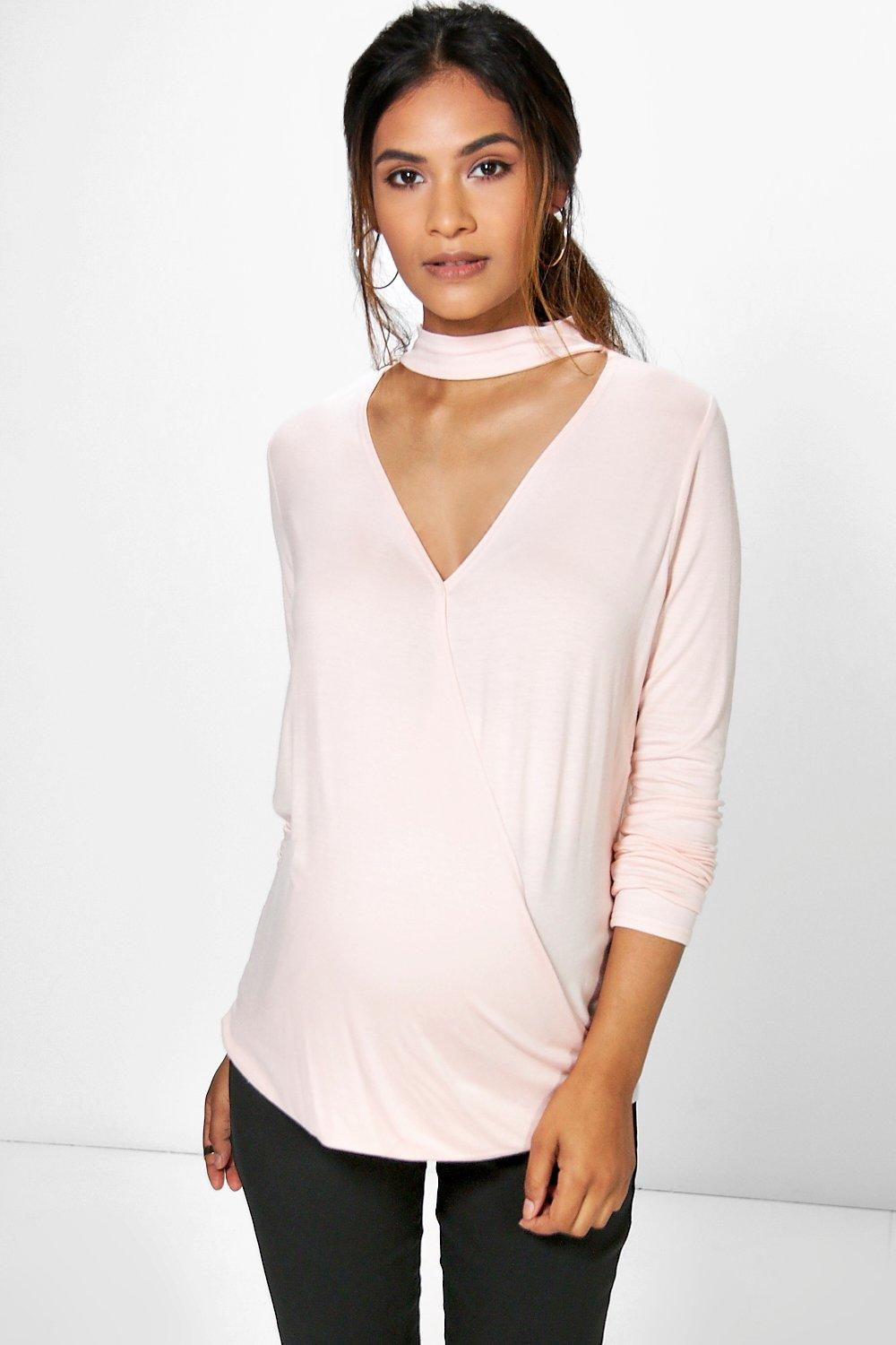 Maternity Heather Choker Wrap Front Top