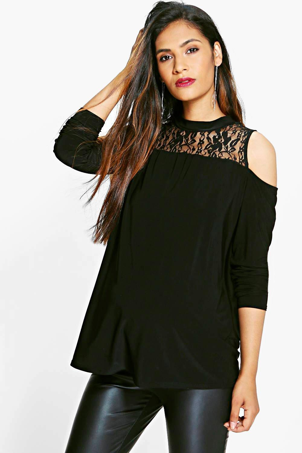 Maternity Maya Lace Insert Cold Shoulder Top