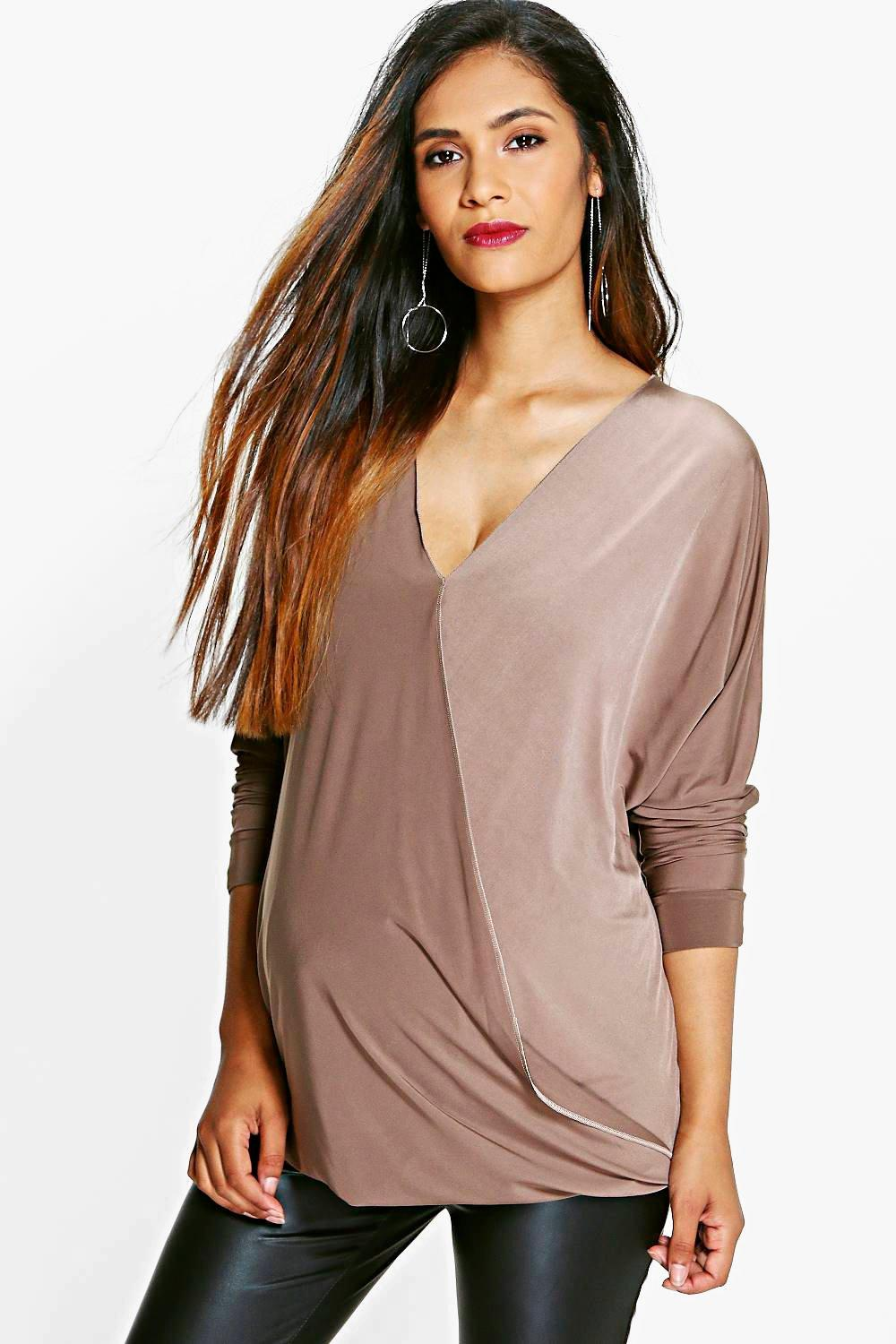 Maternity Emma Slinky Long Sleeve Wrap Top