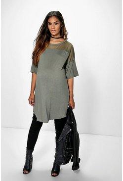 Maternity Taylor Mesh Insert T-Shirt Dress