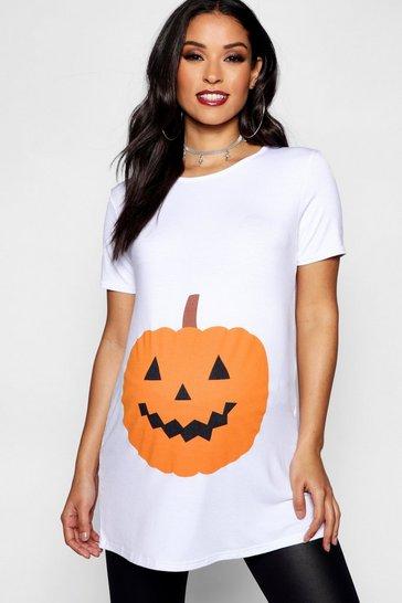 White Maternity Emily Pumpkin Printed Halloween Tee
