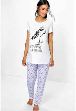 Maternity Mariella Unicorn Printed PJ Set