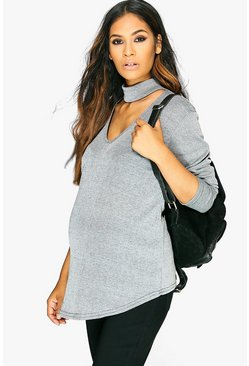 Maternity Veronica Metallic Choker Ribbed Jumper