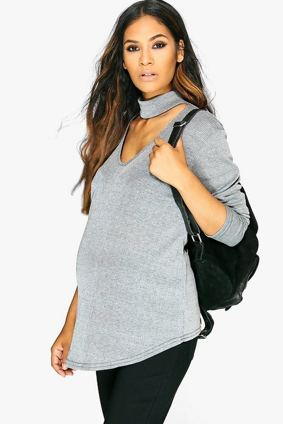 Maternity Choker Ribbed Jumper