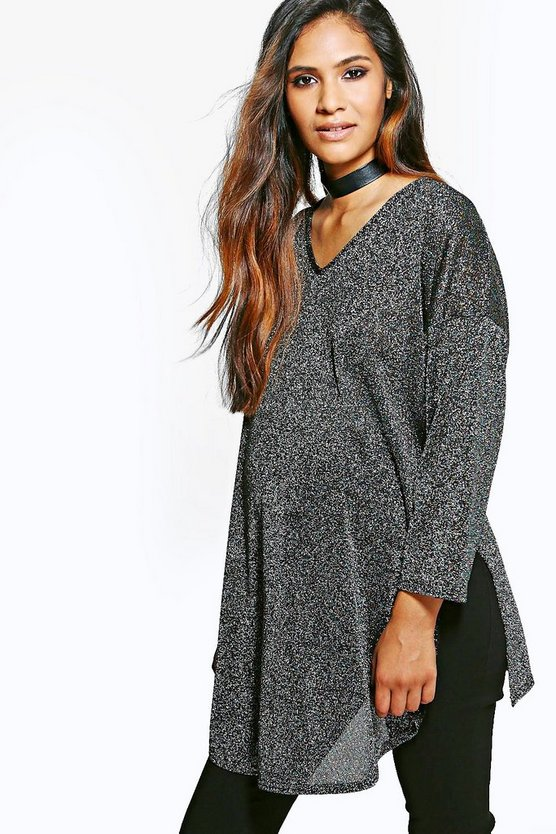 Maternity Layla V Neck Split Side Glitter Jumper