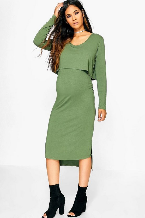 Maternity Kerry Long Sleeve Double Layer Midi Dress