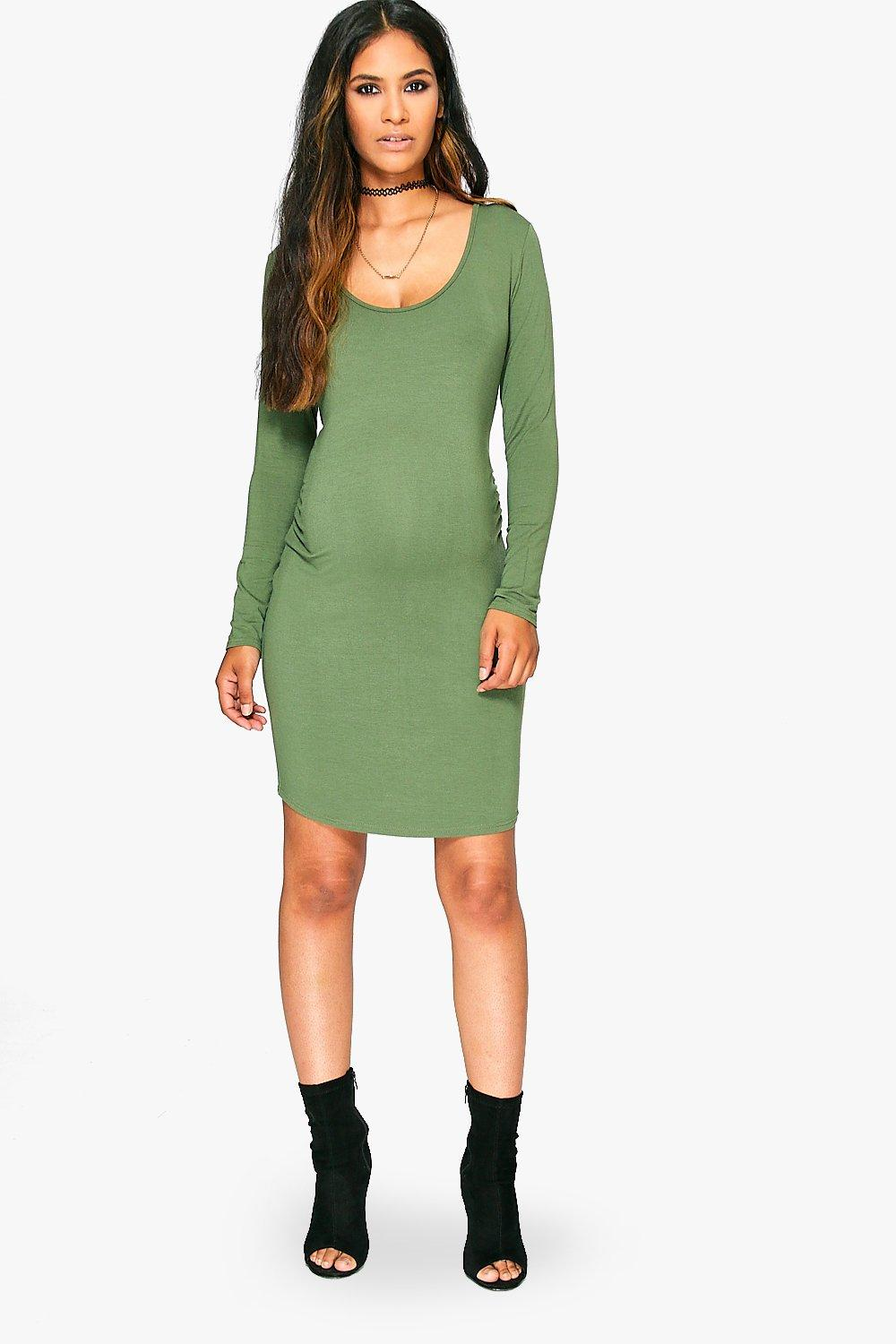 Maternity Lucy Scoop Neck Long Sleeve Bodycon