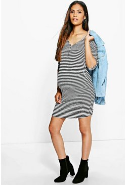 Maternity Sandy Stripe Ribbed Long Sleeve Bodycon Dress