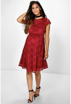 Maternity Micha Lace Cap Sleeve Skater Dress