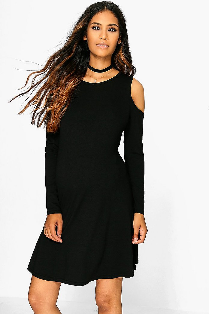 Maternity Holly Long Sleeve Cold Shoulder Swing Dress
