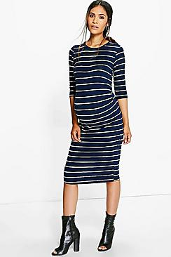 Maternity Maisie Striped Long Sleeve Midi Dress