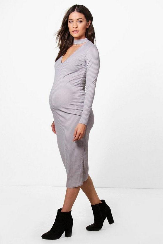 Maternity Sally Choker Ribbed Long Sleeve Midi Dress