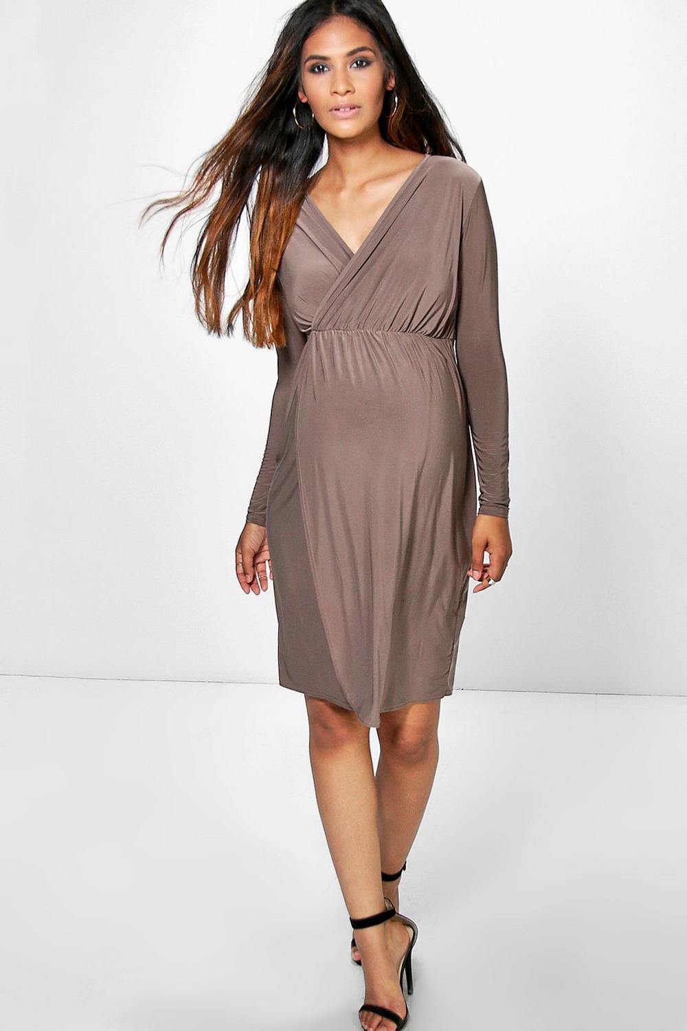 Maternity Tammy Slinky Wrap Long Sleeve Dress
