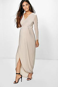 Maternity Lucy Wrap Front Maxi Dress